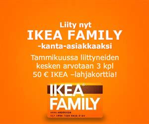 Liity ilmaiseksi Ikea Family -kanta-asiakkaaksi ja saat ilmaiset kahvit arkipäivinä Ikeasta sekä muita etuja