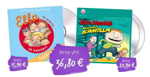 Luen Itse -kirjakerhon runsas tutustumispakettiin (2 kirjaa 1 e / kpl) kaupan päälle myös Ella CD ja Risto Räppääjä ja kuuluisa Kamilla paketti (arvo: 36,80 euroa)